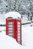 Red Telephone Box In Heavy Snow Prints by Duncan Shaw