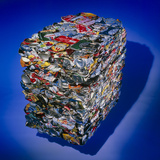 Aluminium Recycling: Compressed Aluminium Cans Photographic Print by Damien Lovegrove
