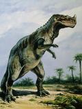 Artist's Impression of Ceratosaurus Nasicornis. Photographic Print by Ludek Pesek