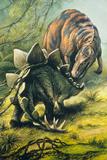 Artist's Impression of Tyrannosaurus & Stegosaurus Photographic Print by Ludek Pesek