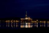 Oil Drilling Rig At Night, North Sea Photographic Print by Duncan Shaw