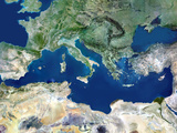 Mediterranean Basin, Satellite Image Photographic Print by  PLANETOBSERVER