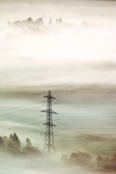 Electricity Pylon In Fog Photographic Print by Duncan Shaw