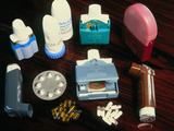 Assorted Inhalers And Drugs for Asthma Photographic Print by Damien Lovegrove