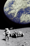 Astronaut on Moon with Earth Photographic Print by Science Photo Library