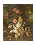 Dead Duck, Snipe, Finches and Other Dead Birds with Roses and Urn in a Wooded Landscape Giclee Print by Jan Fyt