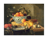 Still Life with Fruit, a Blue and White Porcelain Bowl a Herring on a Pewter Plate, a Glass… Giclee Print by Gerhardt van Duynen