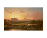 A View of Rome at Sunset with St. Peter's and the Castel S. Angelo Giclee Print by Antoine Ponthus-cinier