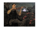Violin Player to the Moon Giclee Print by Hans Thoma