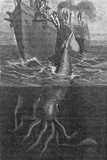 Gigantic Squid And Ship, 19th Century Reprodukcja zdjęcia autor Middle Temple Library