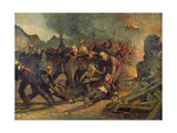 Death of Lt. Col. Froidevaux (1850-87) of the Paris Fire Brigade, 1887 Giclee Print by Emile Renard