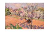 Two Peasants Sowing Beans in an Orchard Giclee Print by Armand Guillaumin