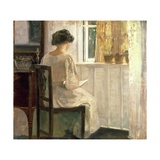 Girl Reading in a Sunlit Room Giclee Print by Carl Holsoe