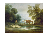 Shepherd by a Stream Giclee Print by Thomas Gainsborough