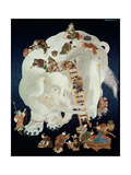 Chinese Washing a White Elephant, Gift Cover, 1800-50 Reproduction procédé giclée