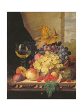 A Still Life with Grapes, Raspberries and a Glass of Wine Giclee Print by Edward Ladell