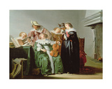 Elegant Figures Music Making in an Interior Giclee Print by Pieter Codde