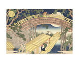 Fan Bridge by Moonlight from 'Views of Mount Tempo' Giclee Print by Yashima Gakutei
