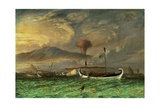 T875 Volcano and Fishing Proas Near Passoeroean, on the Java Coast, Indonesia Giclee Print by Thomas Baines