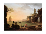 Sunset, Fishermen Pulling in their Nets, 1760 Giclee Print by Claude Joseph Vernet