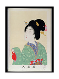 Shin Bijin (True Beauties) Depicting a Woman in a Green Floral Kimono, from a Series of 36,… Giclee Print by Toyohara Chikanobu