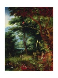 Paradise Scene with Adam and Eve Giclee Print by Jan the Younger Brueghel