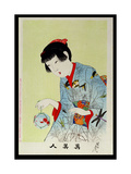 Shin Bijin (True Beauties) Depicting a Woman Holding a Goldfish Bowl, from a Series of 36,… Giclee Print by Toyohara Chikanobu