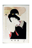 Shin Bijin (True Beauties) Depicting a Woman with a Parasol, from a Series of 36, Modelled on an… Giclee Print by Toyohara Chikanobu