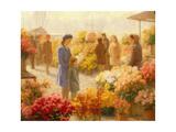 Flower Market Giclee Print by Hendrik Heyligers