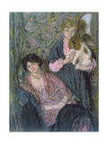 Two Women with a Spaniel Giclee Print by Edmond-francois Aman-jean