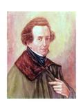 Portrait of Felix Mendelssohn (1809-47) Giclee Print by Gustav Zerner