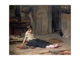 Girl by the Fireside, 1867 Giclee Print by Frank Holl