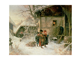 Children in the Snow Giclee Print by Bernard Frohlich