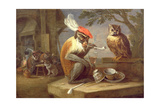 A Monkey Smoking and Drinking with an Owl Giclee Print by Ferdinand van Kessel