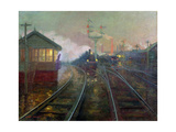 Train at Night C.1890 Giclee Print by Lionel Walden