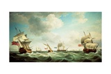 East Indiamen and a Smack-Rigged Royal Yacht in a Breeze Off the Downs Giclee Print by Charles Brooking