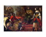 King Solomon and the Queen of Sheba Giclee Print by Claude Vignon