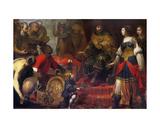 King Solomon and the Queen of Sheba Giclee Print by Claude Vignon