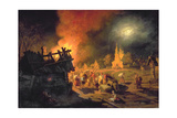 Fire in the Village Giclee Print by Leonid Ivanovich Solomatkin