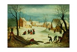 Winter Landscape with Peasants Chopping Wood Giclee Print by Abel Grimmer or Grimer