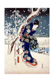 Snow Scene in the Garden of a Daimyo, Part of Triptych Giclee Print by Ando Hiroshige