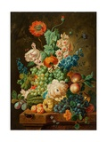 Fruit and Flowers on a Marble Table, 1794 Giclée-Druck von Paul Theodor van Brussel