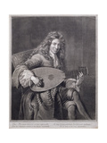 Portrait of Mouton Playing the Lute, Engraved by Gerard Edelinck (1640-1707) Giclee Print by Francois de Troy