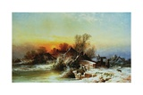 Winter Evening on the Mole, Surrey Giclee Print by George Augustus Williams