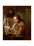 Gentleman Reading at a Table by Candlelight Giclee Print by Jan Maurits Quinckhardt