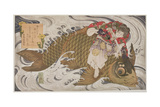 P.375-1937 Oniwaka Mara (Little Demon) Overcoming a Giant Carp, Surimono Diptych, Scene from the… Giclee Print by Toyota Hokkei
