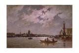 View of the Neva and the Admiralteyskaya Embankment by Moonlight, 1882 Giclee Print by Aleksandr Karlovich Beggrov
