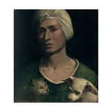 Portrait of a Young Man with a Dog and a Cat Giclée-tryk af Dosso Dossi