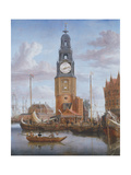 View of the Haringspacker Tower in Amsterdam, with a Working Clock-Face Set into the Painting, 1684 Giclee Print by Abraham Storck