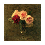 Still Life of Pink and Red Roses, 19th Century Giclee Print by Ignace Henri Jean Fantin-Latour